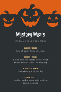 Black and Orange Halloween Pumpkin Carving Party Menu Festa di Halloween