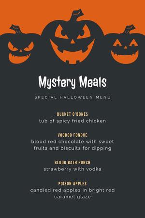 Black and Orange Halloween Pumpkin Carving Party Menu Halloween Party