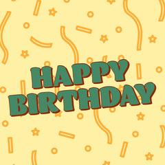 Yellow and Green Happy Birthday Instagram Square Graphic with Confetti Confetti