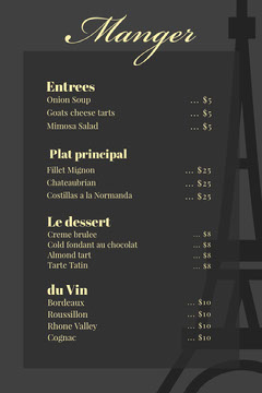 Gray and Yellow Elegant French Restaurant Menu France