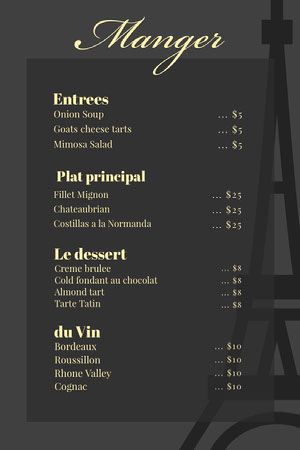 Gray and Yellow Elegant French Restaurant Menu Menú