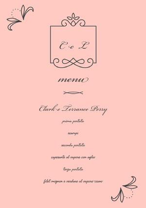 light pink wedding menu  Menu