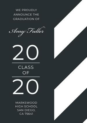 Gray Modern Graduation Announcement Card Graduation Announcement