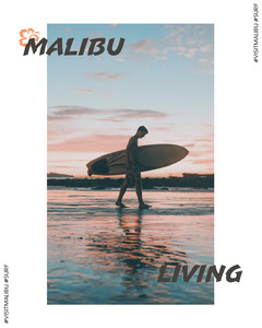 Malibu Travel and Tourism Instagram Portrait Graphic with Surfer on Beach at Sunset Surfing