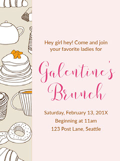 Pink, White and Black Pastel Color Toned Galentines Brunch Poster Brunch