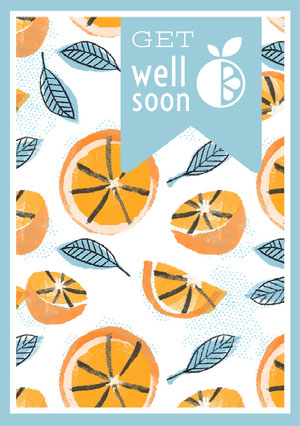 Blue and Orange Get Well Soon Card with Pattern God bedring-kort
