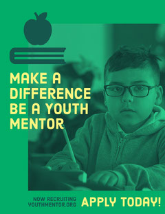 Green and Yellow Youth Mentor Recruiting Ad with Picture of Schoolboy Boys