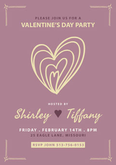 Purple and Beige, Light Toned, Valentines Day Party Invitation Card Heart