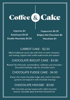 Blue & White Coffee & Cake Menu A5 Dessert