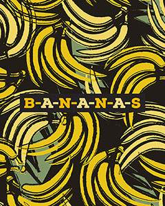 Yellow Banana Fruit Pattern Social Media Graphic Fruit