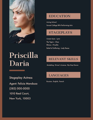 Pink and Black Professional Resume Skådespelar-cv
