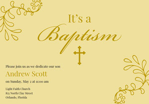 Yellow and Gold Baptism Announcement and Invitation Card Invitation de baptême