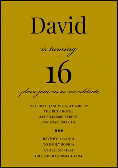 Gold and Black Sweet Sixteen Birthday Invitation Card Gold