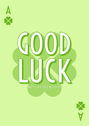 Playful Clover Good Luck Card Good Luck Card