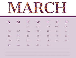 Pink March Calendar with Notes Kalenterit