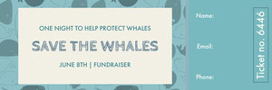 Blue and Beige Save the Whales Ticket Boleto de sorteo