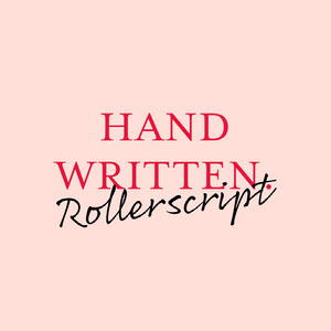 Pink and Red Handwriting Font Logo Brand Square Graphic 32 geniales estilos de caligrafía y fuentes