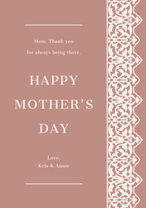 Brown Ornate Pattern Mothers Day Card Cartão de Dia das Mães