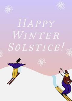 Pink Winter Scene Winter Solstice Card Winter