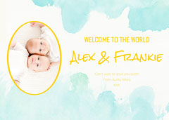 Blue Watercolour Welcome To The World Baby Card Family