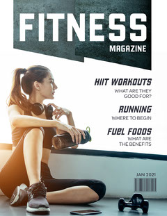 Blue & White Fitness Magazine Gym