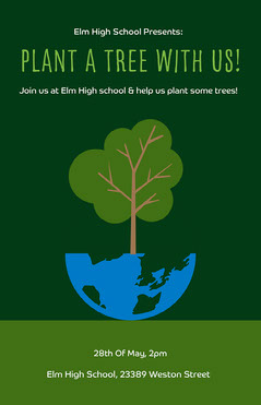 Green Illustrated Environmental Plant a Tree Flyer Earth