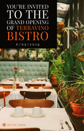 You're invited to the<BR>GRAND OPENING<BR>Of TerraVino Bistro Folleto de invitación a evento