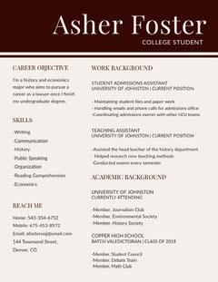 Brown Lawyer University Graduate Studen Resume  Brown