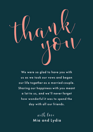 script lgbt wedding thank you card Thank You Card