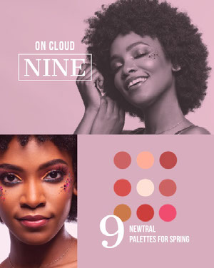 Violet With Portraits Of Women New Palettes Advertisement Makeup Business Card Templates