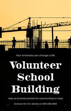 Yellow Volunteer School Building Poster Volunteer