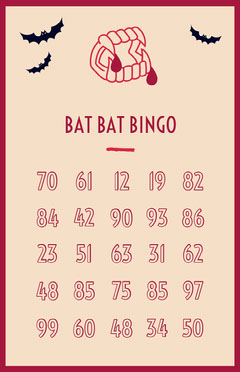 Beige and Red Vampire Fangs and Bats Halloween Party Bingo Card Halloween Party Bingo Card