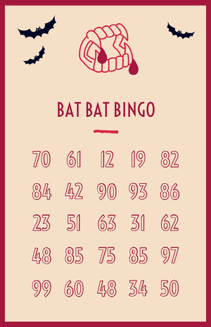 Fang Tastic Halloween Bingo Card   ビンゴカード
