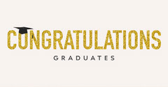 Gold Glittery Text and Mortarboard Congratulations to Graduates Facebook Post Graphic Graduation Congratulation
