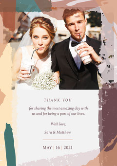 Earth Tone Modern Abstract Wedding Thank You Card Paint