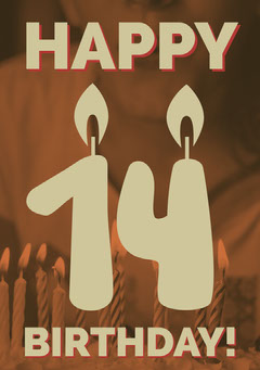 Beige and Brown Happy 14th Birthday Card Birthday
