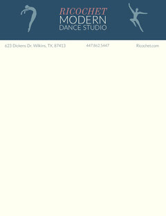 Blue Illustrated Dance Studio Letterhead Dance Flyers