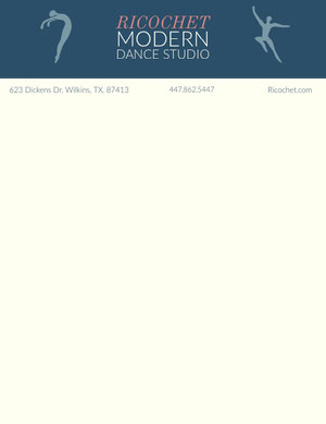 Blue Illustrated Dance Studio Letterhead Carte intestate