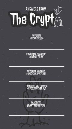 Grey and White Halloween Favorite Things Instagram Story Quiz Night Poster