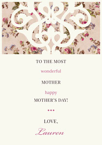 Pink Decorative Floral Mothers Day Card Mother's Day Card