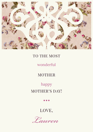 Pink Decorative Floral Mothers Day Card Mother's Day Messages