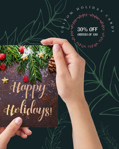 dark green and gold holiday card sale instagram portrait  Holiday Sale