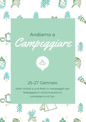 Campeggiare<BR> Invito al compleanno