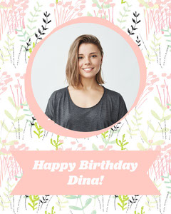 Pink Floral Portrait Photo Birthday Card Flowers