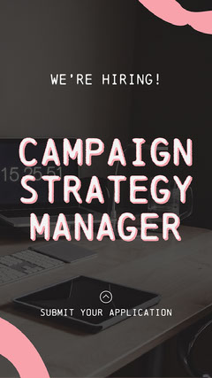 Pink & White We're Hiring Instagram Story  Campaign