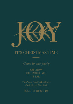 Dark Green and Gold, Elegant, Christmas Party Invitation Christmas Invitation
