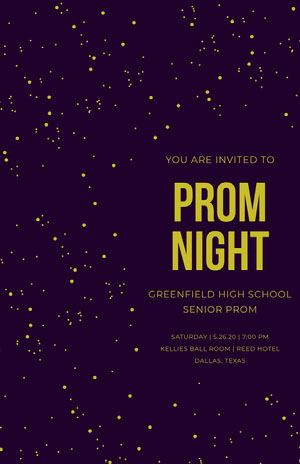 Gold and Black Night Sky High School Prom Poster with Stars Prom Posters