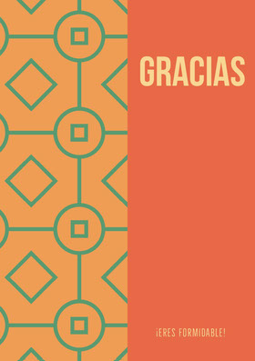 orange and mint green patterned thank you cards  Tarjeta de agradecimiento