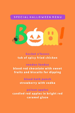 Orange and Colorful Boo Costume Halloween Party Menu  Halloween Party Menu