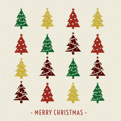 Colorful Illustrated Merry Christmas Instagram Post with Christmas Trees Christmas